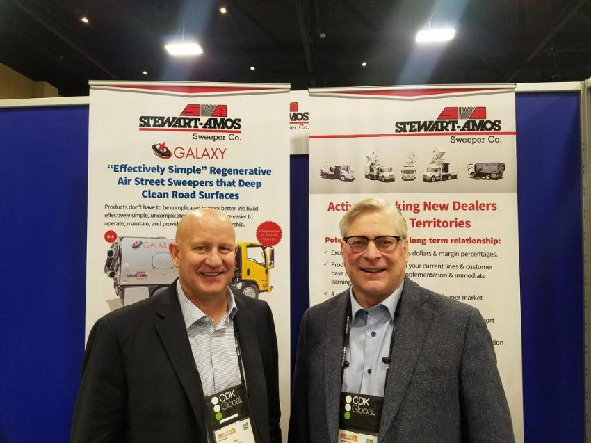 Vern Gunderson (L) of Nixon-Egli Equipment Co., Tracy, Calif., visits with Frank Chulick, president of Stewart-Amos Sweeper Co., Harrisburg, Pa.
