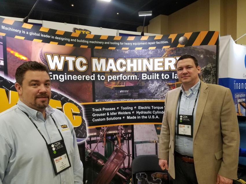 Sales representative Jeff Jones (L) and Chris Plant, vice president and general manager, represented WTC Machinery, Ixonia, Wis.