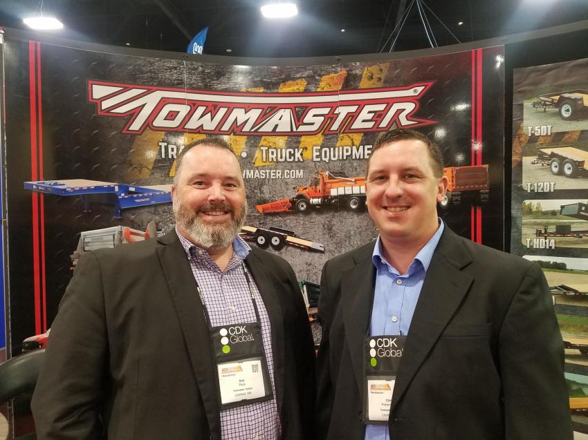 Representing Towmaster Trailers of Litchfield, Minn., are Midwest Sales Territory Manager Bob Pace (L) and Sales Manager Chris Pokornowski.