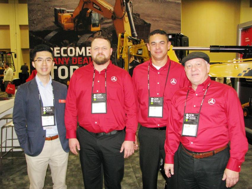 "(L-R): Mengtao Xie, John Fair, Alex Baksay and Gary Busch, the ""A Team"" of SANY America, Peachtree City, Ga., promoted SANY's line of machines and anticipated adding dealers when this year's AED concluded."