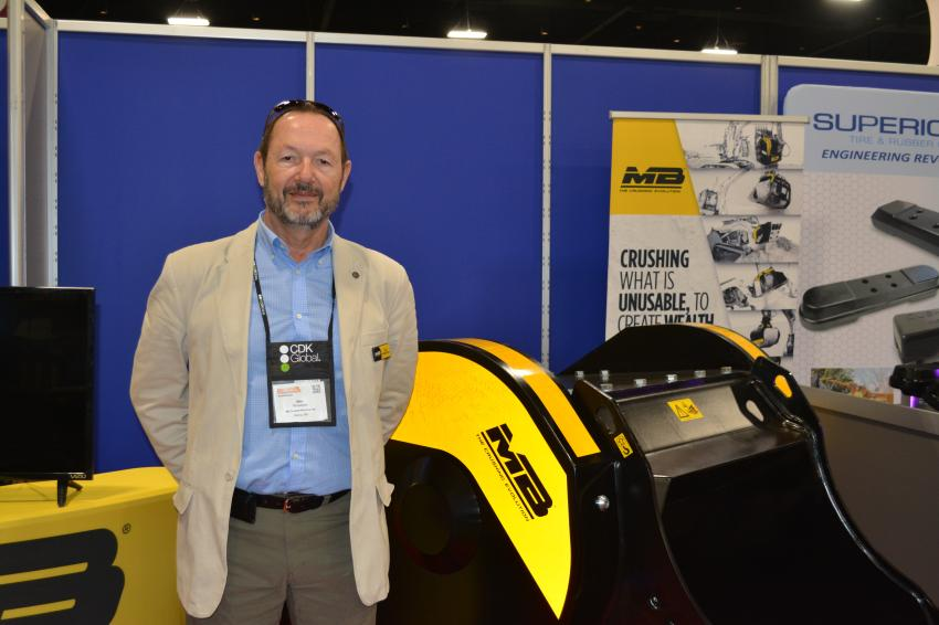 Max Ravazzolo displayed the MB Crusher line of attachments to AED attendees in Orlando. MB's crushers come in a variety of sizes and will attach to most excavators or skid steers.