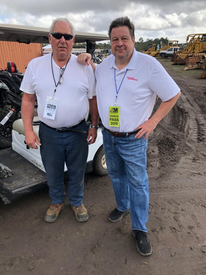 Doug Foglio (L), president of Fogliano Inc., Waterboro, Maine, tells Kent Hogeboom of Construction Equipment Guide the industry market conditions in Maine are very strong.