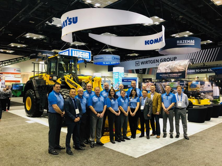 The Komatsu KMG team is ready to discuss their company's lineup of mining and material processing equipment with attendees at AGG1 Academy & Expo.