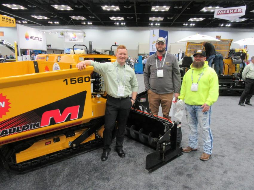 (L-R): Mauldin Paving Products' Brandon Granger spoke with Ty Montgomery and Justin Sergent of Jodi's Asphalt, based in Danville, Ill.