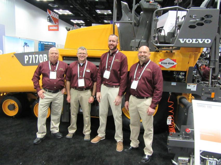 (L-R): Volvo Construction Equipment's Gary Atkinson, Bill Laing, Mark Eckert and Chad Fluent discussed the company's range of construction and paving equipment.
