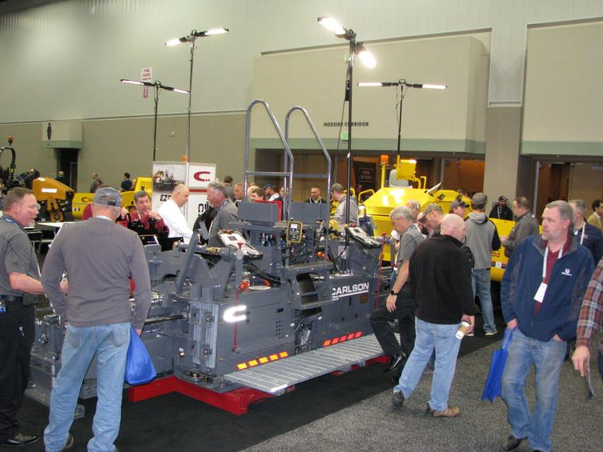 Just inside one of the entrances to the exhibition hall, Carlson Paving Products was front and center with a display of equipment that drew quite a bit of attention.
