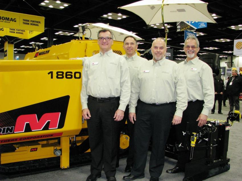 (L-R): The Calder brothers, David, Glen, Cameron and Wayne, owners of Mauldin, had several new products on the show floor that are now Tier IV final machines, including the all-new 650, 1560 and 1860 model pavers.