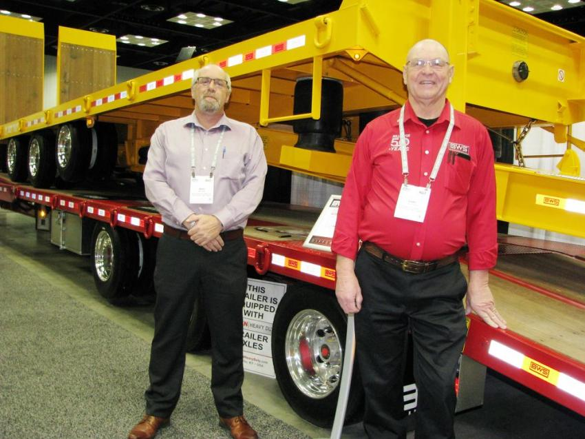 Mike Lyman (L) and Gary Thomas of BWS Manufacturing, Centreville, New Brunswick, Canada, had a great-looking trailer display of their trailer models at their exhibit.