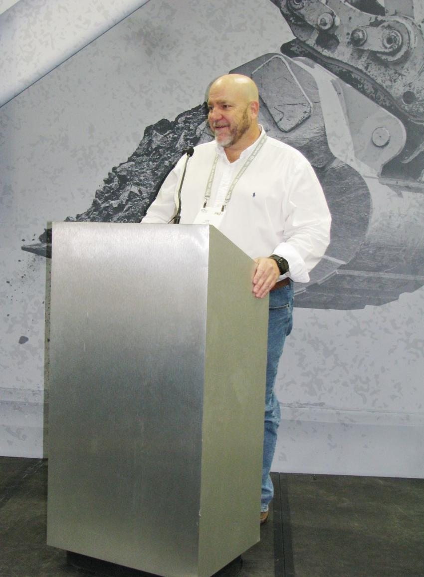 The daily Rock 'n' Road talks on the show floor provided lots of information for the industry. Lee Smith of FAE USA had the opportunity to take the stage to promote his company's lineup of attachments and machines.