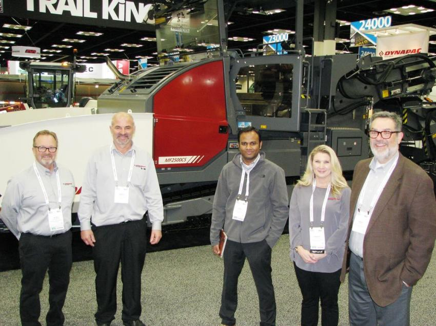 (L-R): Peter Fredrickson, Marco Paris, Vijay Palanisamy, Jennifer Bishop and Fabian Salinas of Dynapac had several exciting new machines being introduced to the North American and global marketplace, including a new model of oscillation roller.
