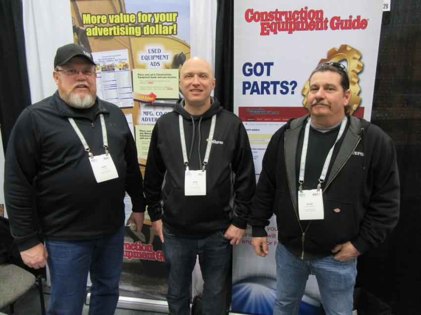 (L-R): Construction Equipment Guide readers Bob Genter, Rob Figlock and Dave Levengood of Allen Myers stopped in at the booth to say hello.