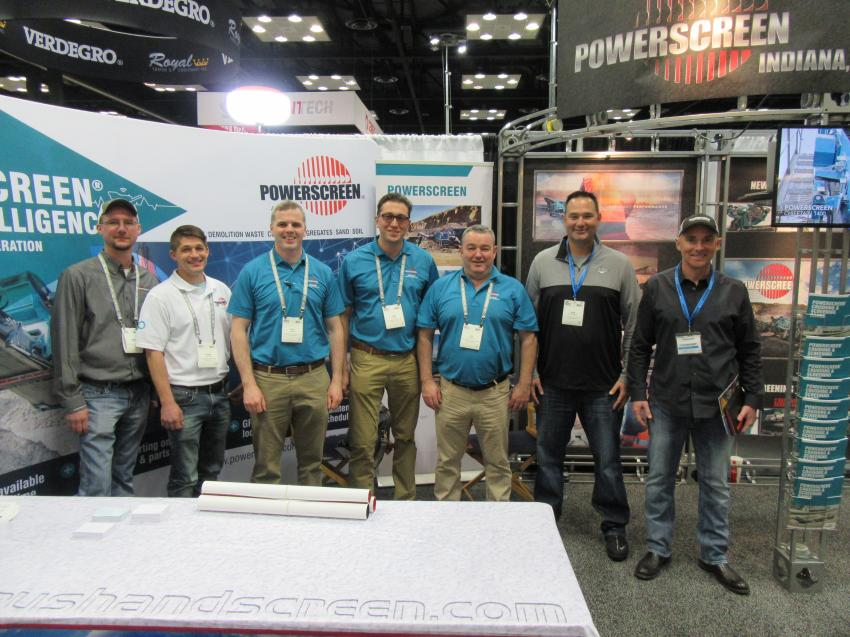 Powerscreen Indiana Inc.'s booth at the show served as a meeting place for several of Powerscreen's Midwest dealers, including (L-R) Powerscreen Indiana's Trent Ford and Adam Buell; Powerscreen Midwest Crushing & Screening's Neil Mullan, Joe Peters and Tim Scannell; and Roberto Armbruster and Sean McIvor of AGGCORP.