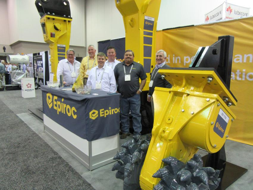 (L-R): Manned by Tim Schutte, Michael Meehan, Justin McKenzey, Rich Elliott, Odie Baca and Maurice Hunter, The Epiroc USA booth featured a display of the company's hydraulic breakers and drum cutter.