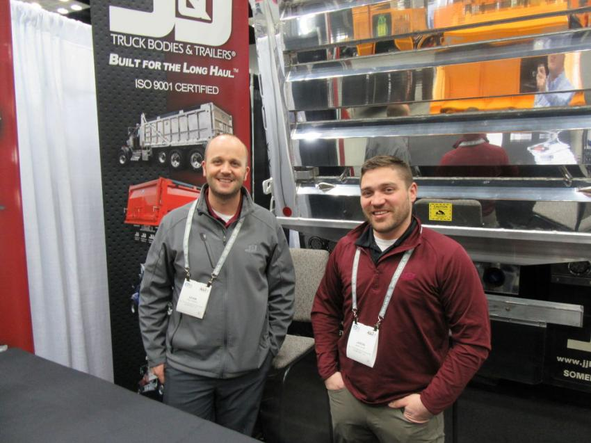 Adam Bowers (L) and Jason Cornell of J&J Truck Bodies & Trailers were on hand to discuss the company's line of truck bodies, trailers, tankers and truck equipment.