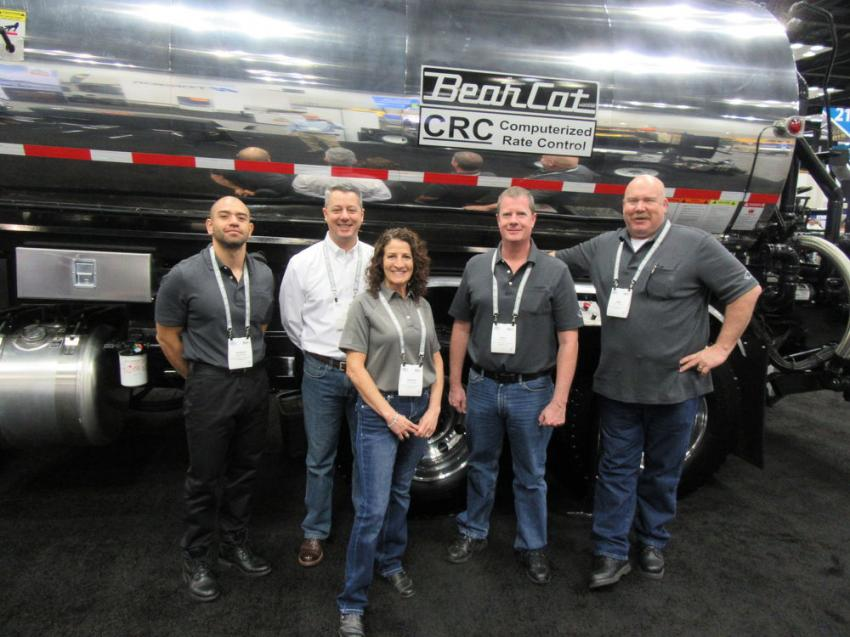 (L-R): Bear Cat Manufacturing's Rogelio Enriquez, Steve Karl, Sandra Goddard, Mike Melander and Jimmy Goddard were on hand to discuss their asphalt distributors and custom asphalt and aggregate equipment.
