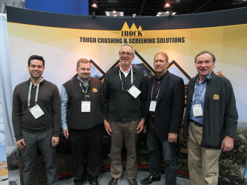 (L-R): IROCK Crusher LLC's Chris Larson, John Patton, Dan Davis, Eric Dombrowski and Roger Danielsen welcomed attendees to discuss their crushing and screening equipment.