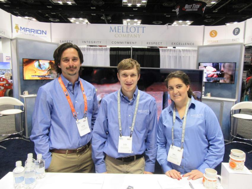 (L-R): Justin Mellott, Alex Davies and Emily Jannotta of Mellott Company discussed the company's rock crushing and screening services and equipment at the show.