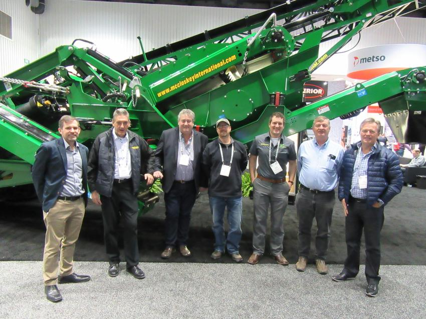 (L-R): At the McCloskey International booth, the company's John O'Neill and Paschal McCloskey were joined by several representatives from their dealer network, including Tora Crushing & Screening's Rory O'Brien, Franklin Rock & Recycle's Mike Carrell and Jarrod Franklin, Rock & Recycle Equipment's Brendan Fox and RPM Crushers & Screens' Paul McCaughey.