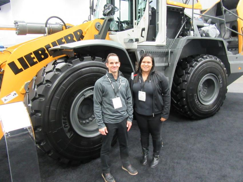 Liebherr USA's Nick Rogers (L) and Tahitia Banks, first-time exhibitors, were enthusiastic about the show.
