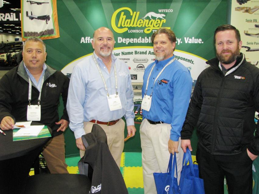 Talking trailers in the Witzco Challenger Trailer booth (L-R) are Gerardo Fuentes and Josh Weinstein of Witzco Challenger Trailers Inc., Sarasota, Fla.; and Jamie Rens and Justin Hoffman of Transport Logistics, Oak Creek, Wis.
