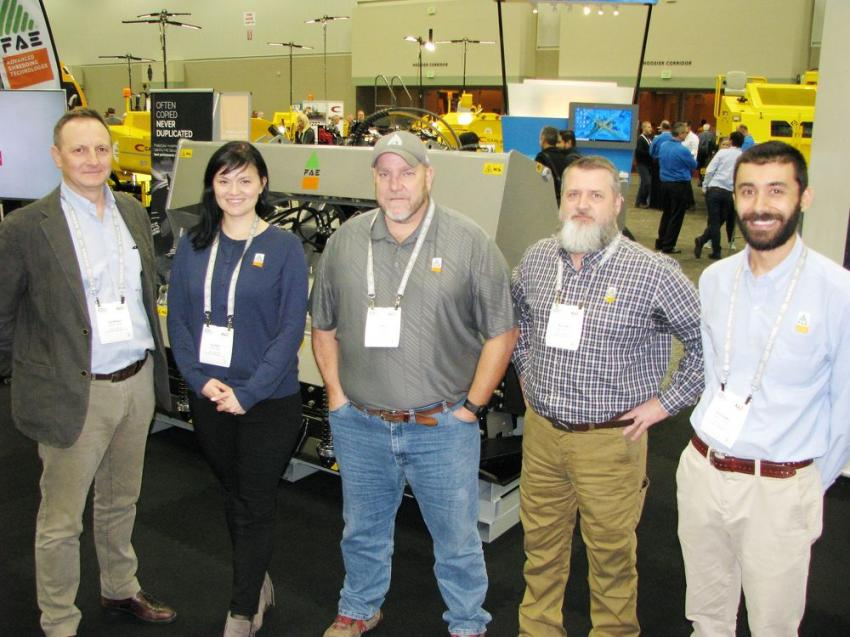 (L-R): FAE USA representatives Giorgio Carera, Elena Iogha, Lee Smith, Allen Tennis and Stefano Leghissa had a comprehensive display of their lineup of attachments for asphalt grinding, milling, rock crushing and stabilization.