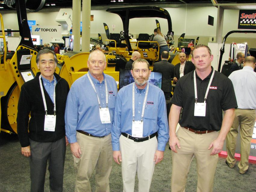 The Sakai America exhibit had a wide range of compaction machines on display and plenty of representatives to discuss the line including (L-R)  Toyohiro Aida, Kevin McClain, Kendall Phillips and Mike Fuller.