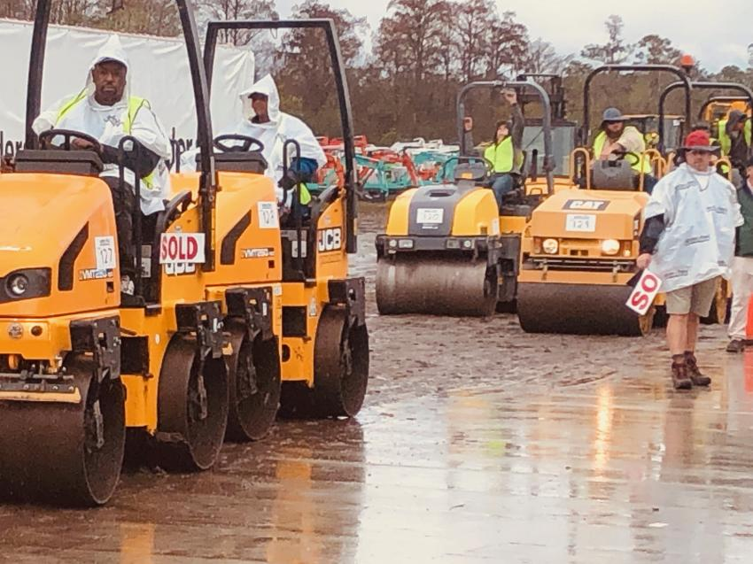 Late-model, low-hour asphalt compactors cross the ramp looking for new homes.