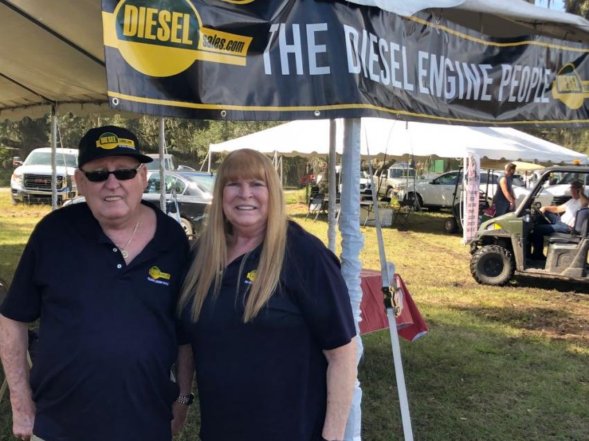 With dieselsales.com, Ritchie Angst and Faith Gossage Angst answered questions about replacement diesel engines and diesel parts at the Yoder & Frey auctions.