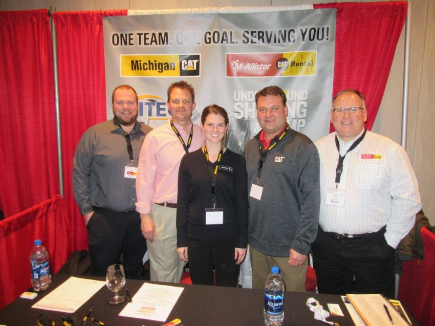 (L-R): Michigan Cat's Shawn Miller, Kevin Studley, Christine Mech, Mike Comito and Rick Wisniewski welcomed the opportunity to speak with construction, engineering and architectural professionals at the show.