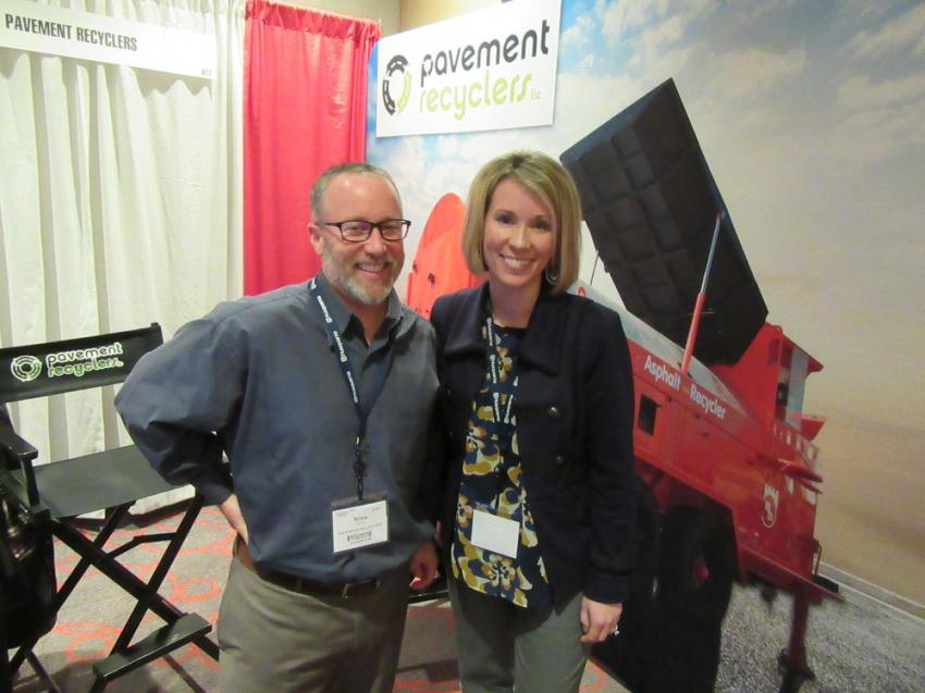 Brian Fraser and Jill Kirkwood of Pavement Recyclers of Michigan LLC were ready to talk about their company's lineup of Bagela equipment.
