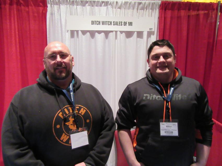 Ditch Witch Sales of Michigan's Andy Hildebrandt (L) and Robert Dickerson spoke with attendees about the dealership's horizontal drilling and other equipment.