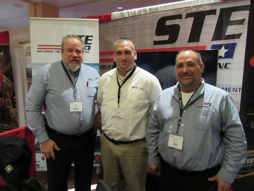 (L-R): Tony Androsuk, Frank Boskovich and Mark Veith of Southern Truck Equipment had a host of options to discuss to upfit contractors' vehicles.