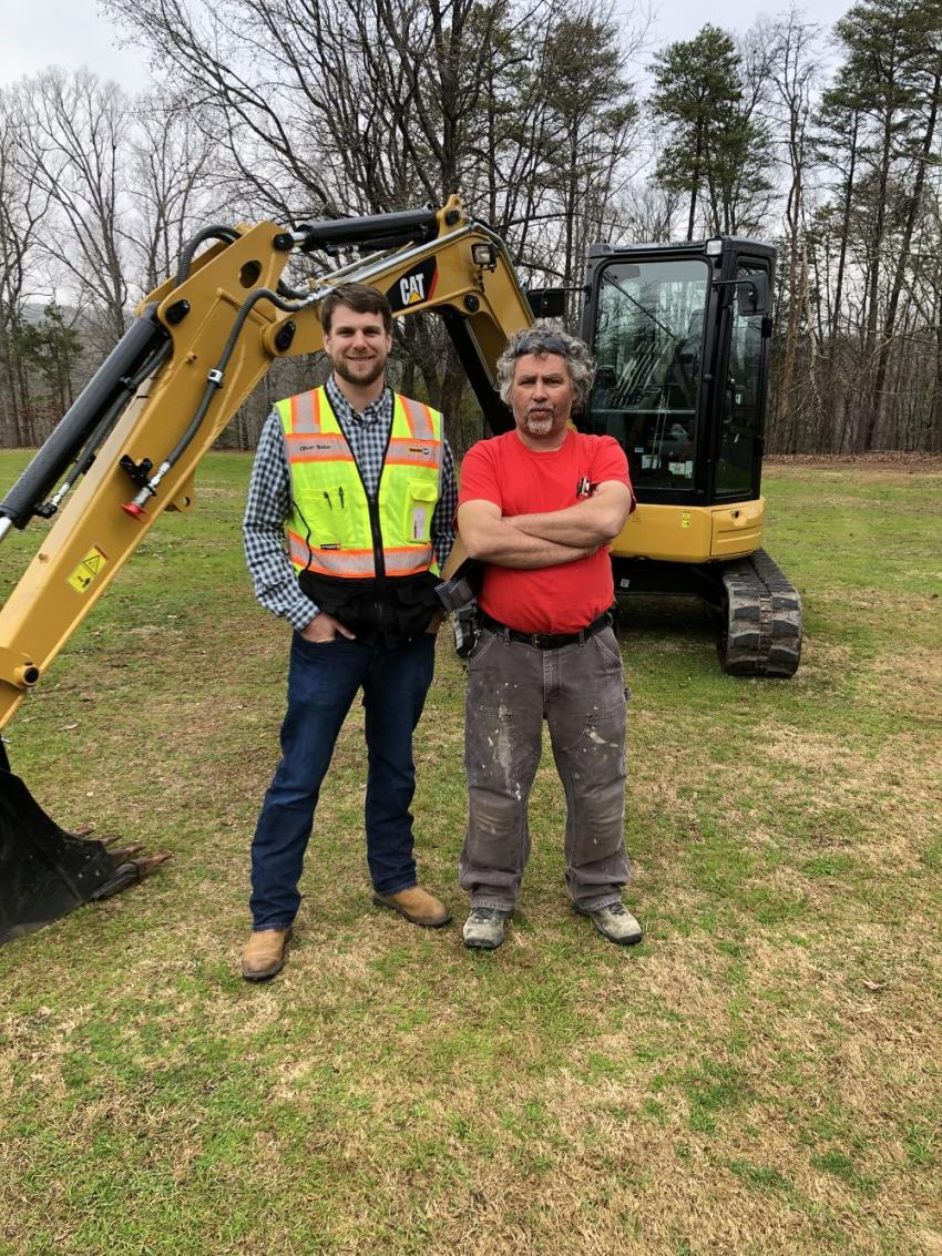Oliver Belue (L) of Blanchard Machinery and Dennis Durham of DMD Plumbing in Easley, S.C