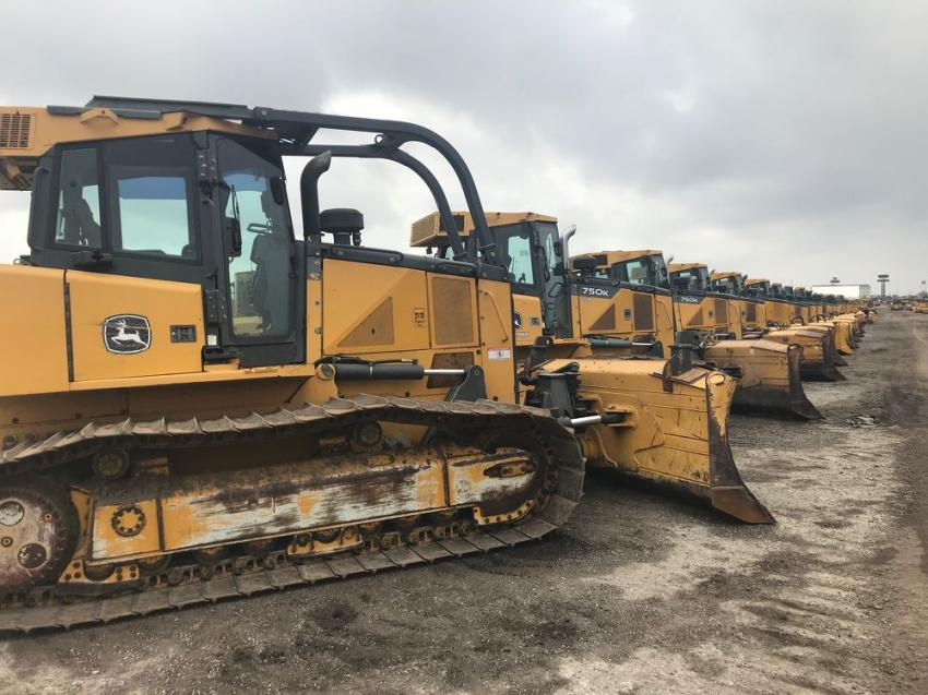 Approximately 400 crawler tractors went over the auction ramp.