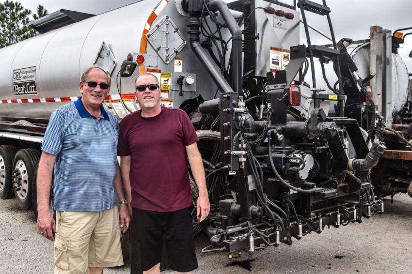 Bart (L) and Will van der Stappen of Advanced Paving and Construction, Ogden, Utah. Will has taken over the company from his father and is looking to expand with a larger tank chip sealer.