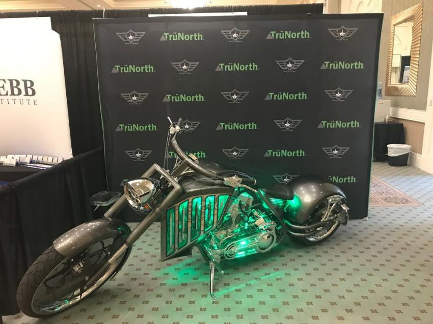 A custom chopper was on display at the TrüNorth booth.