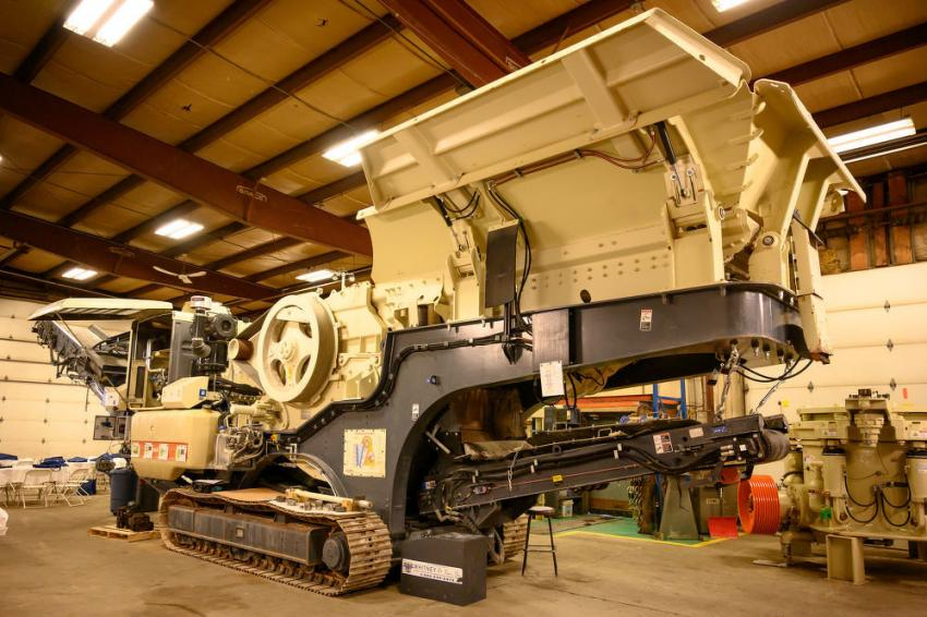 The Lokotrack LT106 mobile jaw crushing plant is on display for Crusher School at Whitney and Son Inc. in Fitchburg, Mass.