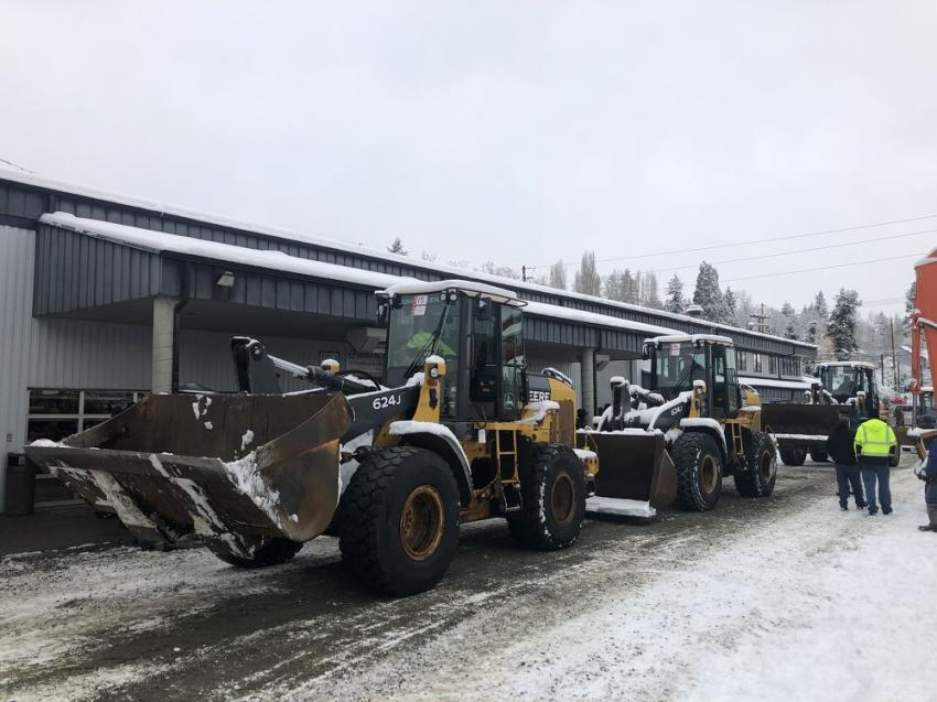 Three John Deere 624J wheel loaders rolled through the block on auction day and sold for $50k each.