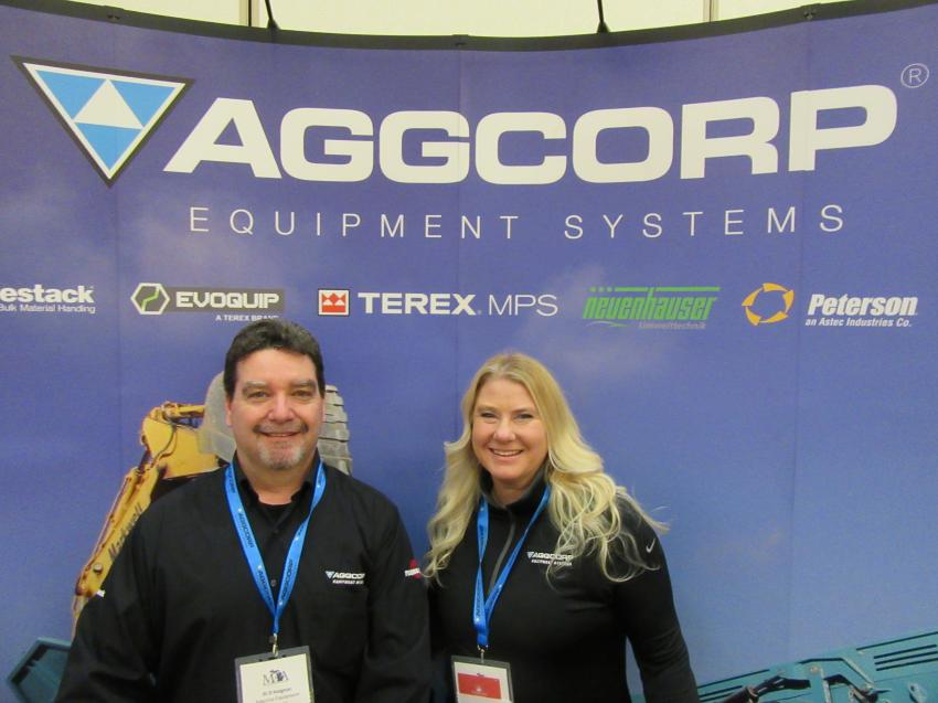 Al D'Avignon (L) and Sue Vitaz of Aggcorp Equipment Systems were on hand to discuss the company's lineup of aggregate processing equipment.
