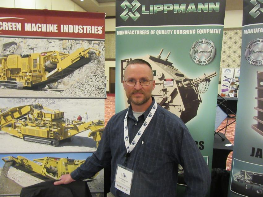 At the Ohio Cat exhibit, Aaron Mittendorf presented the dealership's lineup of Irock, Screen Machine and Lippmann material processing equipment.
