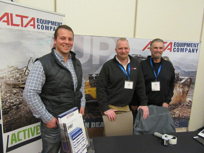 (L-R): Alta Equipment Company's Jon Conant and Ian Remijn catch up with Bob Kling of Aggregate Systems LLC.
