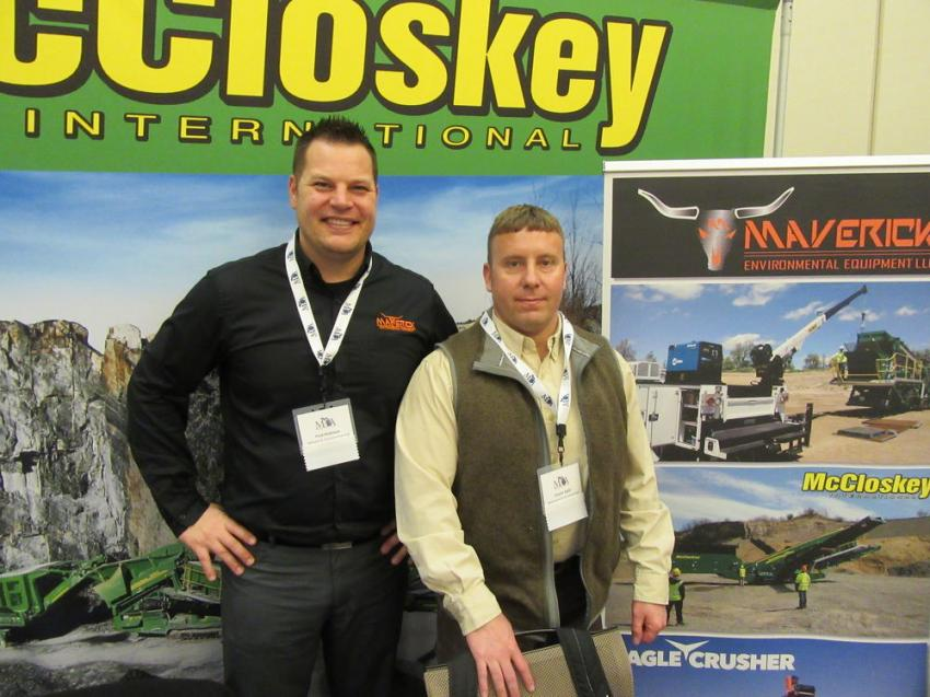 Fred Makinen (L) and Charlie Stahl of Maverick Environmental Equipment spoke with attendees about the dealership's McCloskey International, Eagle Crusher and FAE lines as well as other equipment they have to offer.