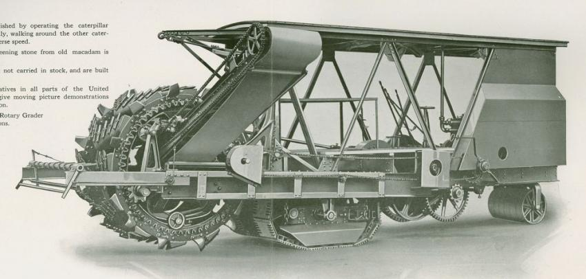 The Koehring rotary grader from the early 1920s is the indirect ancestor of today's milling machines. Capable of loading 60 to 100 cu. yds. per hour, it could handle macadam pavement or dirt, and an optional screen could separate out aggregates from the macadam. The discharge conveyor could be set to either side of the cutting wheel, and cutting depth was two in. to two ft. It was steered by operating one crawler to pivot on the other.