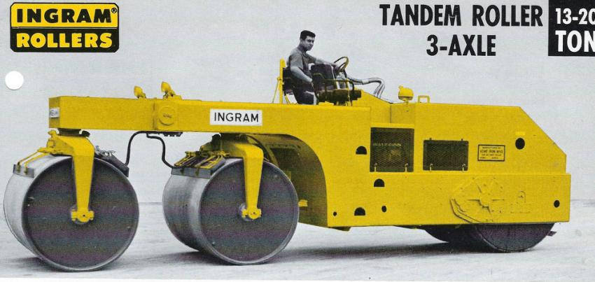 From the late 1940s into the 1960s, three-drum tandem rollers provided extra full-width compaction force in asphalt work.