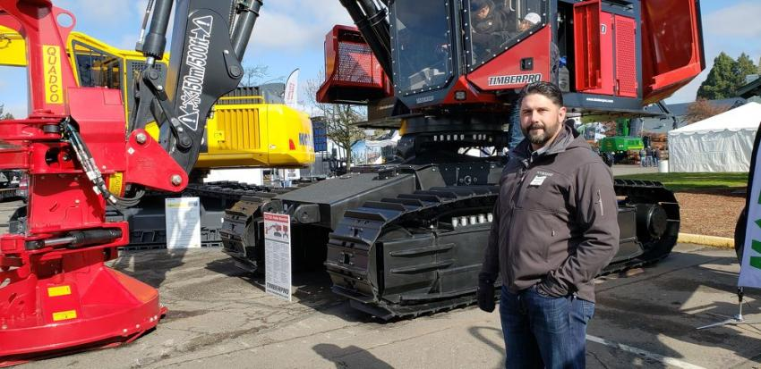 Jason G. Vaughn, branch manager of Modern Machinery, with the TimberPro TL775D. The TimberPro TL765D and TL775D series have been fitted with a new larger cab that has improved visibility both out the front of the cab as well as the boom side. Modern Machinery has locations across the Northwest, Washington, Oregon and Idaho.