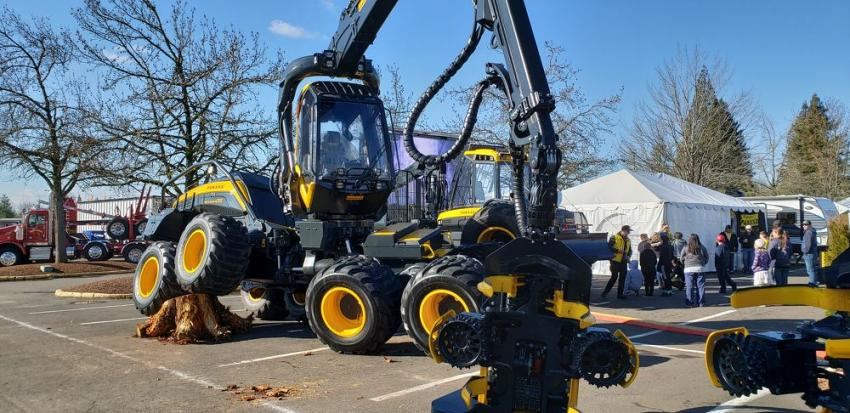 The PONSSE Scorpion King harvester was being demonstrated at the Oregon Logging Conference. The machine features eight wheels and a patented stabilization system.