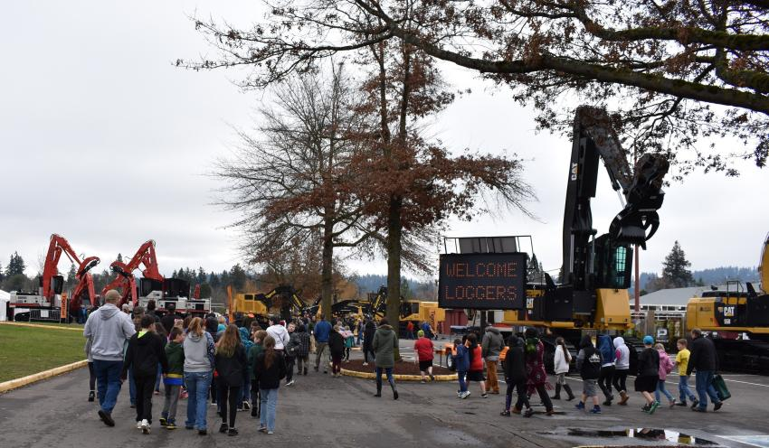 Elementary school students visit OLC to learn about the forestry industry. (Mary Bullwinkel photo)