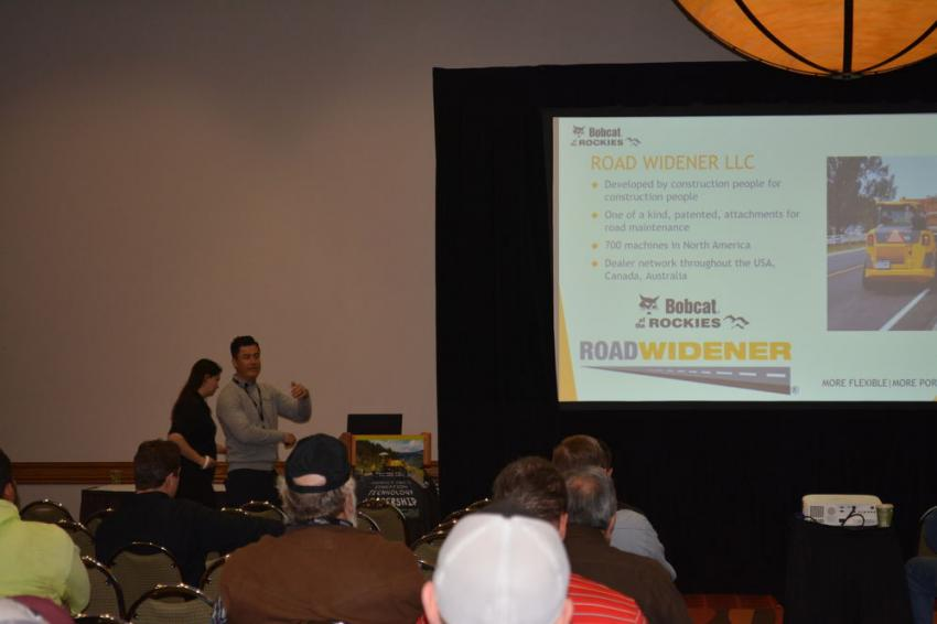 Road Widener LLC's Sales and Marketing Manager, Dano Rivas, conducts a video presentation on his company's products at the Rocky Mountain Asphalt Conference and Equipment Show late last month.