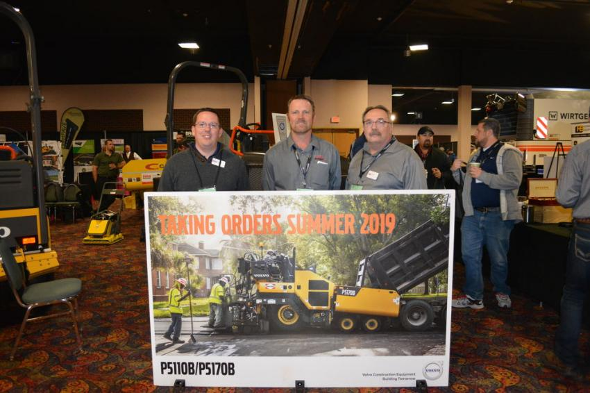(L-R): Greg Kuch, David Barthel and Bill Smith of Faris Machinery were excited to be able to take customers' orders for the Volvo's new P5110B and P5170B pavers.