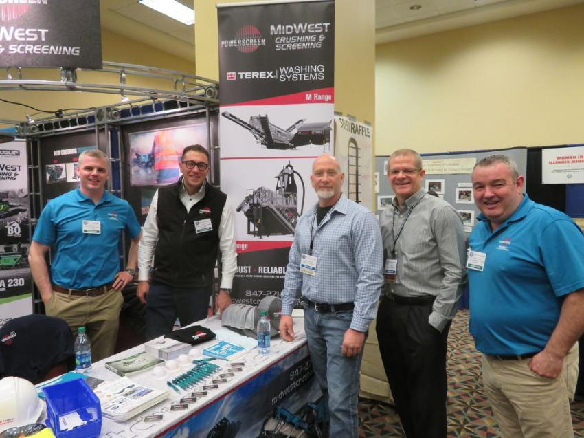 (L-R): Talking shop at the expo are Neil Mullan and Joe Peters of Powerscreen Midwest Crushing & Screening; Dan Johnson and Troy Kutz of Bluff City Materials; and Tim Scannell of Powerscreen Midwest Crushing & Screening.